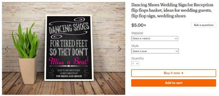 Dancing Shoes Wedding Sign for Reception flip flops basket